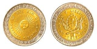 Одна аргентинская монетка песо Стоковые Фото