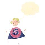 超级英雄女孩的减速火箭的动画片儿童的图画 免版税库存照片