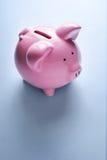 桃红色陶瓷存钱罐 库存图片