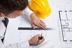 专业建筑师图画建筑计划。 库存照片
