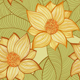与木兰花的无缝的样式 免版税库存照片