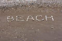 向在海滩湿沙子的海背景扔石头  免版税图库摄影