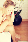 Νέα λυπημένη γυναίκα Στοκ Φωτογραφίες