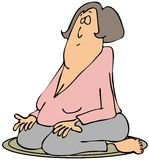 她的膝盖的思考的妇女 库存照片