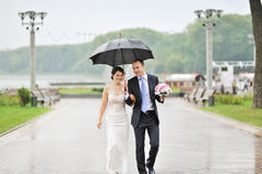 肉欲的婚礼夫妇、新郎和新娘笑的和走的衣服 库存图片