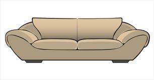 在白色隔绝的传染媒介动画片米黄长沙发 免版税库存照片
