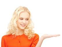 Женщина с пустой рукой Стоковое фото RF