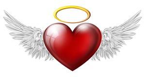 与天使翼的心脏 库存图片