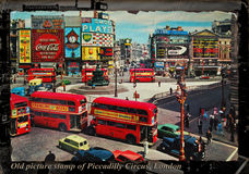 皮卡迪利广场伦敦老图片邮票  免版税库存照片
