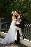 最近结婚的夫妇亲吻 图库摄影