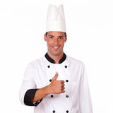 Επαγγελματικός ισπανικός αρσενικός αρχιμάγειρας με τον εντάξει αντίχειρα Στοκ Φωτογραφίες
