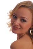 白肤金发的女孩纵向微笑 免版税图库摄影