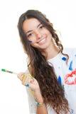 青少年的女孩绘画 图库摄影