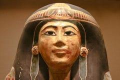 妇女的古老埃及装饰的石棺 免版税库存照片