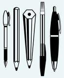 铅笔、笔和钢笔象 库存照片