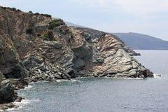 克利特海岛岩石海岸  免版税库存照片