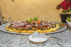 在餐馆自助餐的茄子沙拉 图库摄影