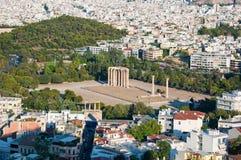 奥林山宙斯寺庙在雅典,希腊。 库存图片