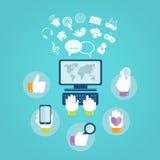 计算机和网路服务的平的设计观念 免版税库存照片