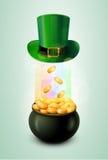 Горшок с золотом & зеленая шляпа Стоковые Изображения