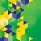 在巴西旗子概念的传染媒介几何背景。 库存照片