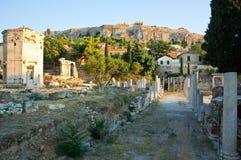 罗马集市和风的塔。雅典,希腊。 免版税库存照片