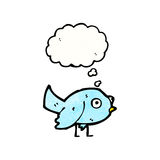小的蓝色鸟动画片 免版税库存照片