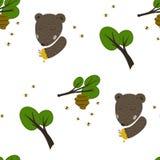 熊、蜂和蜂蜜背景 免版税图库摄影