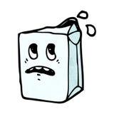 牛奶纸盒漫画人物 免版税库存照片