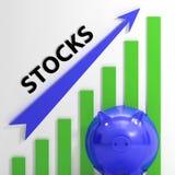 股票图表展示上升按份额的价值 图库摄影