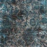 黑灰色和蓝色脏的葡萄酒花卉背景 免版税库存图片