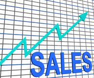 Η γραφική παράσταση διαγραμμάτων πωλήσεων παρουσιάζει αυξανόμενο εμπόριο κερδών Στοκ εικόνα με δικαίωμα ελεύθερης χρήσης