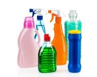 干净的房子的清洁产品塑胶容器 库存图片