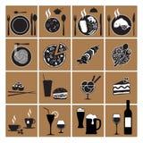 Значки меню ресторана Стоковые Изображения RF