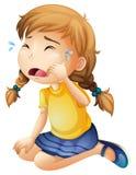 一小女孩哭泣 库存图片