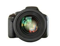 Ψηφιακή κάμερα που απομονώνεται μαύρη Στοκ Φωτογραφία