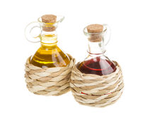 红葡萄酒醋和向日葵油 免版税图库摄影