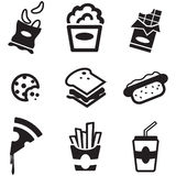 Εικονίδια πρόχειρων φαγητών Στοκ εικόνα με δικαίωμα ελεύθερης χρήσης