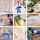 九张婚姻的照片拼贴画在蓝色的 免版税库存图片