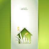 Приглашение зеленого дома весны Стоковые Изображения RF