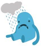有一朵多雨云彩的生气蓝色妖怪 库存图片