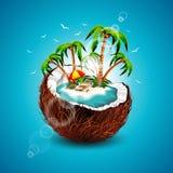 Διανυσματική απεικόνιση σε ένα θέμα καλοκαιρινών διακοπών με την καρύδα. Στοκ Εικόνα