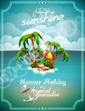 Иллюстрация вектора на теме летнего отпуска. Стоковое Изображение