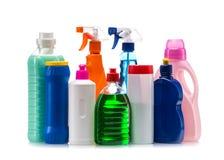 干净的房子的清洁产品塑胶容器 免版税库存照片