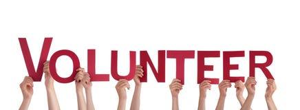 拿着志愿者的人们 免版税库存图片