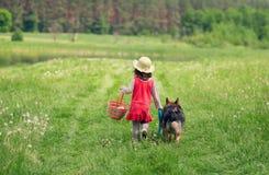 走与狗的小女孩 免版税库存照片