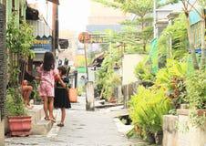 孩子-摆在日惹街道上的女孩  库存照片