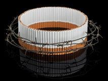 在铁丝网后的卵形香烟保护 免版税库存图片
