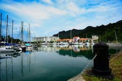 在码头的游艇 免版税图库摄影