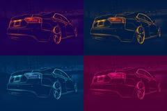四辆色的抽象汽车 免版税库存照片